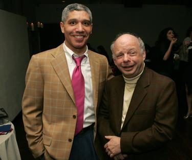 Peter Francis James and Wallace Shawn at the after party of the opening night of &quot;Stuff Happens.&quot;